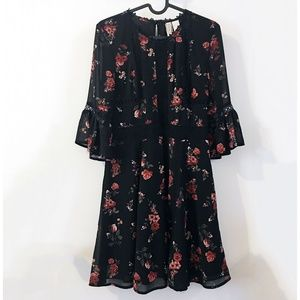 H&M Divided black rose floral chiffon dress